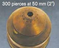 Đầu phun HPR400XD sau khi cắt được 300 chi tiết dầy 50mm